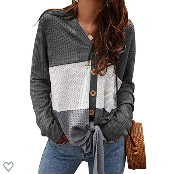 Imported Sweaters - 🌺GRAY Tie Front Knit Cardigan🌺